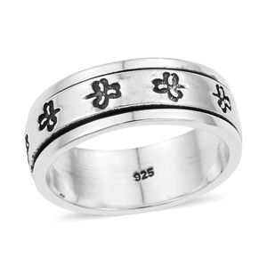 Artisan Crafted SterlingSilver Clover Spinner Ring
